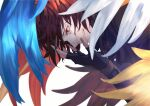 1boy bangs blue_wings brown_hair brown_wings commentary_request feathers fingerless_gloves from_side gloves granblue_fantasy grin hands_up highres large_hands looking_down male_focus medium_hair profile red_eyes red_wings sandalphon_(granblue_fantasy) sanoi_(giraffe) short_hair simple_background smile solo tears teeth upper_body white_background white_wings wings