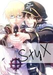 2boys aiming_at_viewer bangs black_coat black_hair black_headwear blonde_hair blue_eyes coat commentary_request cover cover_page doujin_cover emblem grin gun hair_between_eyes handgun hat high_priest_(ragnarok_online) holding holding_gun holding_hands holding_weapon layered_clothing long_sleeves looking_at_viewer male_focus mit_(necomit) multiple_boys open_mouth peaked_cap pistol ragfes ragnarok_online rebellion_(ragnarok_online) red_coat short_hair smile two-tone_coat upper_body weapon white_coat yellow_eyes