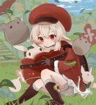 1girl ahoge backpack bag bangs blonde_hair bloomers blush boots brown_footwear brown_gloves closed_mouth clouds day dodoco_(genshin_impact) dress genshin_impact gloves grass hair_between_eyes hat highres holding jumpy_dumpty klee_(genshin_impact) leaf long_sleeves low_twintails outdoors pointy_ears red_dress red_eyes red_headwear sidelocks sitting sky tourou_7 twintails underwear white_bloomers