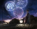 1boy aerial_fireworks arm_at_side banner black_hair blue_eyes blue_sky closed_mouth clothing_request clouds commentary_request expressionless fireworks grass hand_up highres hise holding holding_lantern horns japanese_clothes lantern looking_at_viewer male_focus night night_sky obon oni_horns original outdoors paper_lantern scenery short_hair signature skin-covered_horns sky solo standing tree wide_shot wide_sleeves