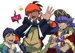 3boys :d bag baseball_cap black_hair black_hoodie blue_jacket blush bright_pupils cape champion_uniform closed_eyes closed_mouth collared_shirt crossed_arms dark-skinned_male dark_skin duffel_bag dynamax_band earrings facial_hair fangs fur-trimmed_cape fur-trimmed_jacket fur_trim gen_4_pokemon gloves green_bag gym_leader hand_on_hip hand_up hat highres hood hoodie hop_(pokemon) jacket jewelry komame_(st_beans) leon_(pokemon) long_hair looking_at_viewer male_focus multiple_boys open_mouth orange_headwear partially_fingerless_gloves pokemon pokemon_(game) pokemon_swsh purple_hair raihan_(pokemon) red_cape rotom rotom_phone shield_print shirt short_hair simple_background single_glove smile sword_print symbol-only_commentary tongue undercut white_background white_pupils yellow_eyes