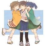 3girls black_legwear blue_eyes blue_hakama blue_skirt blush closed_eyes green_hakama green_kimono green_skirt hakama hakama_short_skirt hakama_skirt hiryuu_(kancolle) ina_(1813576) japanese_clothes kaga_(kancolle) kantai_collection kimono multiple_girls open_mouth sandals short_hair short_twintails side_ponytail simple_background skirt smile souryuu_(kancolle) tabi twintails white_legwear yellow_kimono