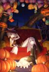 2girls absurdres asymmetrical_gloves bangs black_footwear black_gloves blue_eyes boots bronya_zaychik bronya_zaychik_(snowy_sniper) candle candy couch drill_hair earrings elbow_gloves food food_in_mouth full_body full_moon ghost gloves grey_eyes grey_hair hair_between_eyes halloween halloween_costume hat highres homu_(honkai_impact) honkai_(series) honkai_impact_3rd jewelry lantern lollipop long_sleeves looking_at_viewer mismatched_gloves moon multiple_girls night night_sky nun orange_gloves orange_legwear pillow pumpkin seiza side_ponytail sitting sky sleeveless smile theresa_apocalypse theresa_apocalypse_(valkyrie_pledge) tongue tongue_out twin_drills white_hair witch_hat xing_muhen
