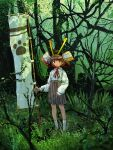1girl armor banner black_eyes branch brown_hair brown_legwear closed_mouth collared_shirt commentary_request day eyebrows_visible_through_hair forest full_body grass green_background grey_skirt helmet high-waist_skirt highres japanese_armor kabuto loafers long_sleeves looking_at_viewer nature neck_ribbon nobori original outdoors paw_print pleated_skirt red_neckwear red_ribbon ribbon school_uniform shirt shoes short_hair skirt sleeves_past_wrists socks solo split_mouth standing tree white_legwear white_shirt wing_collar xpomorin