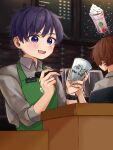 cafe glasses hatoka_ra5 highres male_focus multiple_boys niconico open_mouth pen purple_hair shima_(niconico) short_hair smile starbucks urashimasakatasen uratanuki utaite_(singer) violet_eyes