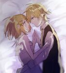 1boy 1girl adolescence_(vocaloid) bed_sheet blonde_hair blue_eyes brother_and_sister camisole eye_contact face-to-face flat_chest frilled_camisole hair_ornament hairclip hands_together highres hug kagamine_len kagamine_rin layered_camisole looking_at_another lying necktie on_bed on_side serious shirt short_ponytail siblings sketch sleeveless sleeveless_jacket twins vocaloid warabi_(danngo-mitarasi) white_camisole yellow_neckwear