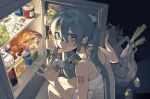 1girl apple aqua_eyes aqua_hair aqua_nails bag bag_of_chips barbell_piercing beamed_eighth_notes bottle can canned_food chips commentary drink ear_piercing earrings eating eighth_note food food_in_mouth from_above from_side fruit grocery_bag hair_between_eyes hatsune_miku highres holding holding_drink indoors industrial_piercing jewelry juice_box liangjing long_hair looking_back mandarin_orange mouth_hold musical_note nail_polish night nightgown number_tattoo piercing plastic_bag potato_chips refrigerator refrigerator_interior shopping_bag shoulder_tattoo sleeveless solo spring_onion squatting tattoo twintails very_long_hair vocaloid white_nightgown