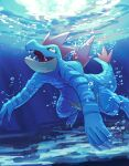 air_bubble bubble claws commentary_request feraligatr fusenryo gen_2_pokemon highres no_humans open_mouth pokemon pokemon_(creature) sharp_teeth solo swimming teeth tongue underwater yellow_eyes