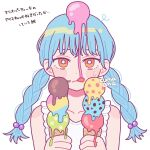 1girl aqua_hair braid bright_pupils brown_eyes food food_on_face food_on_head hands_up highres ice_cream ice_cream_cone ice_cream_on_face long_hair looking_at_viewer nokanok object_on_head original shirt signature simple_background sleeveless sleeveless_shirt solo triple_scoop twin_braids white_background white_pupils white_shirt