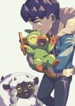 1boy black_pants black_shirt blue_jacket bright_pupils closed_mouth commentary_request dark-skinned_male dark_skin fur-trimmed_jacket fur_trim gen_8_pokemon grookey highres holding holding_pokemon holding_stick hop_(pokemon) jacket komame_(st_beans) male_focus open_clothes open_jacket pants pokemon pokemon_(creature) pokemon_(game) pokemon_swsh purple_hair shirt short_hair sleeves_past_elbows smile stick white_pupils wooloo yellow_eyes