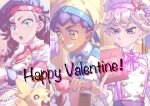 1girl 2boys alternate_hairstyle apron bangs bede_(pokemon) berry_(pokemon) blonde_hair blue_eyes book bow bowtie braid bright_pupils buttons chef_hat closed_mouth collared_dress commentary_request curly_hair dress earrings gen_8_pokemon grin hand_up happy_valentine hat highres holding holding_book hop_(pokemon) jewelry komame_(st_beans) marnie_(pokemon) morpeko morpeko_(full) multiple_boys open_mouth pecha_berry pokemon pokemon_(creature) pokemon_(game) pokemon_swsh red_neckwear short_sleeves smile sweatdrop teeth tongue twin_braids waist_apron white_pupils yellow_eyes