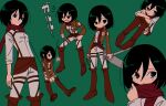 1girl adjusting_scarf angry bangs belt black_eyes black_hair blush boots breasts brown_background brown_footwear brown_jacket character_sheet commentary cropped_jacket emblem expressionless film_grain frown green_background hair_between_eyes hanging highres holding holding_sword holding_weapon hugging_own_legs jacket knees_up looking_ahead looking_away mikasa_ackerman multiple_views nzeneee pants paradis_military_uniform parody red_scarf scarf shingeki_no_kyojin shirt short_hair sitting small_breasts standing style_parody sword texture thigh_strap three-dimensional_maneuver_gear translated weapon white_pants white_shirt