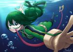 1girl :> absurdres artist_name asui_tsuyu belt black_eyes black_footwear bodysuit boku_no_hero_academia bow_by_hair bubble domino_mask frog_girl gloves goggles green_bodysuit green_hair hair_rings highres huge_filesize long_hair long_tongue looking_at_viewer low-tied_long_hair mask outstretched_arms solo superhero swimming tongue tongue_hold tongue_out underwater very_long_tongue yuhi