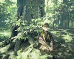 1boy black_hair clothing_request commentary_request dappled_sunlight day green_theme highres hise horns indian_style japanese_clothes looking_at_viewer male_focus multiple_sources nature oni_horns original outdoors rope shide shimenawa short_hair signature sitting skin-covered_horns solo sunlight tree wide_shot yellow_eyes zouri