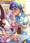 1boy alternate_costume berry_(pokemon) blue_neckwear bowl bright_pupils buttons chef_hat cupcake dark-skinned_male dark_skin dubwool food gen_8_pokemon grin hat highres holding hop_(pokemon) indoors komame_(st_beans) looking_down male_focus mittens_removed oven_mitts pecha_berry pokemon pokemon_(creature) pokemon_(game) pokemon_swsh purple_hair short_hair short_sleeves smile standing teeth white_pupils yellow_eyes