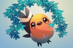 bird brown_eyes closed_mouth commentary_request fletchling full_body fusenryo gen_6_pokemon highres leaf looking_at_viewer no_humans pokemon pokemon_(creature) solo talons