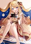 1girl :d acorn bangs barefoot blonde_hair blue_eyes blush brown_dress commentary_request copyright_request couch dress eyebrows_visible_through_hair feet_out_of_frame flower hands_up holding knees_up long_hair looking_at_viewer nintendo_switch official_art on_couch open_mouth pleated_dress sakura_hiyori sitting smile solo upper_teeth very_long_hair virtual_youtuber watermark white_flower