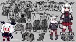 +_+ 1girl :3 :d absurdres ahoge angry animal_ears asymmetrical_legwear backpack bag bangs black_footwear black_jacket black_neckwear boots character_name chibi commentary demon_girl demon_tail english_commentary expressions eyebrows_visible_through_hair fang fang_out fur_collar goat_ears grey_background grizz heart helltaker highres holding_strap horizontal_pupils horns jacket medium_hair mismatched_legwear multiple_views necktie open_mouth original partially_colored plaid plaid_skirt pout randoseru red_eyes red_shirt sharp_teeth shirt simple_background skirt smile smug striped striped_legwear tail teeth thick_eyebrows twitter_username v-shaped_eyebrows white_hair