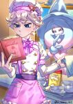 1boy bag bangs bede_(pokemon) blonde_hair blue_eyes blurry book bow bowl bowtie buttons character_print closed_mouth commentary_request curly_hair eyelashes gen_6_pokemon gen_8_pokemon hat hatterene highres holding holding_book indoors komame_(st_beans) male_focus paper_bag pink_neckwear pokemon pokemon_(creature) pokemon_(game) pokemon_swsh reading short_hair short_sleeves slurpuff standing undershirt