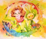 1boy :d aoya_(ayoyame18) arm_up artist_painter brown_hair burgh_(pokemon) commentary_request gen_5_pokemon green_eyes green_shirt gym_leader holding holding_paintbrush leavanny male_focus medium_hair open_mouth paintbrush palette_(object) pokemon pokemon_(creature) pokemon_(game) pokemon_bw scarf shirt smile swadloon tongue upper_teeth v-neck