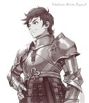 1boy alternate_costume armor bangs breastplate brown_eyes brown_hair closed_mouth commentary copyright_name english_commentary gauntlets hand_on_hip kazuko_(towa) male_focus pokemon pokemon_(game) pokemon_swsh short_hair shoulder_plates smile solo split_mouth strap victor_(pokemon)