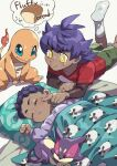 2boys blush bright_pupils buttons character_print charmander closed_eyes closed_mouth dark-skinned_male dark_skin eyelashes frown gen_1_pokemon gen_5_pokemon gen_8_pokemon green_shorts highres hop_(pokemon) komame_(st_beans) long_sleeves lying male_focus multiple_boys on_back on_stomach pillow pokemon pokemon_(game) pokemon_swsh poking purple_hair purrloin red_shirt shirt short_hair shorts socks thought_bubble under_covers undershirt victor_(pokemon) white_legwear white_pupils wooloo younger