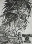 artist_logo attack_titan burn_scar drawing eren_yeager face fire glowing glowing_eyes hand-y-mage highres monochrome rogue_titan scar shaded_face sharp_ears sharp_teeth shingeki_no_kyojin short_hair sketch teeth tongue tongue_out upper_body