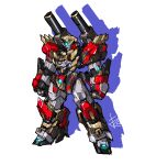 absurdres beifun_otona blue_eyes clenched_hands glowing glowing_eye highres mecha no_humans original science_fiction shoulder_cannon sketch solo standing v-fin white_background
