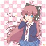 1girl ahoge bang_dream! bangs blue_eyes blue_jacket cat_ear_headphones headphones jacket long_hair long_sleeves mitarashi_neko open_mouth redhead school_uniform tamade_chiyu
