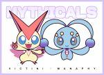 artsy-rc border closed_mouth commentary english_commentary gen_4_pokemon gen_5_pokemon highres looking_at_viewer manaphy mythical_pokemon no_humans pokemon pokemon_(creature) purple_border smile v victini