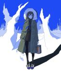 1girl absurdres black_legwear black_shirt black_skirt blue_eyes blue_footwear blue_neckwear blue_sky braid brown_hair closed_mouth coat commentary_request footprints full_body fur-trimmed_coat fur_trim green_coat highres holding hood hood_up hooded_coat light_smile long_hair looking_at_viewer neckerchief open_clothes open_coat original paint_can pantyhose pleated_skirt school_uniform shadow shirt short_hair siun_5513 skirt sky snow solo standing twin_braids two-tone_footwear white_footwear