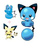 :3 artsy-rc azurill gen_2_pokemon gen_3_pokemon highres looking_at_viewer no_humans pichu pokemon pokemon_(creature) reference_inset simple_background smile white_background