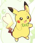 :3 :d artsy-rc bow bowtie full_body gen_1_pokemon green_neckwear highres looking_at_viewer no_humans open_mouth pikachu pokemon pokemon_(creature) smile solo unmoving_pattern