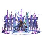 1boy ahoge arm_up armor belt black_pants blonde_hair blue_eyes breastplate cape full_body granblue_fantasy greaves looking_at_viewer male_focus minaba_hideo official_art pants puddle sheath siete smirk smug solo space sparkle spectral standing star_(sky) sword transparent_background unsheathed water weapon