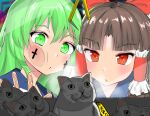 2girls absurdres against_glass bangs benikurage_(cookie) bow brown_hair cat character_doll chinese_commentary commentary_request cookie_(touhou) crane_game cross eyebrows_visible_through_hair face facepaint frilled_hair_tubes frills green_eyes green_hair hair_bow hair_tubes hakurei_reimu highres kochiya_sanae long_hair manatsu_no_yo_no_inmu miura_cat multiple_girls nekokatana_catana open_mouth parted_bangs paseri_(cookie) red_bow red_eyes touhou