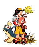 1boy backwards_hat baseball_cap brown_eyes closed_mouth commentary_request ethan_(pokemon) gen_2_pokemon grass hat highres holding holding_pokemon jacket knees long_sleeves looking_to_the_side male_focus panmimi pokemon pokemon_(creature) pokemon_(game) pokemon_gsc quilava red_footwear red_jacket sentret shoes shorts skiploom smile standing togepi white_background wooper yellow_shorts