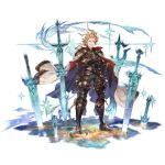 1boy ahoge armor belt black_pants blonde_hair blue_eyes cape crossed_arms full_body granblue_fantasy greaves looking_at_viewer male_focus minaba_hideo official_art open_mouth pants planted planted_sword puddle sheath sheathed siete smirk smug solo space standing star_(sky) sword teeth transparent_background weapon