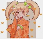 1girl ameko53133 bangs blonde_hair blush_stickers bow brown_background cat_hair_ornament commentary_request dangan_ronpa_(series) dangan_ronpa_2:_goodbye_despair grin hair_bow hair_ornament heart japanese_clothes kimono long_hair long_sleeves looking_at_viewer outside_border saionji_hiyoko smile solo twintails white_background wide_sleeves