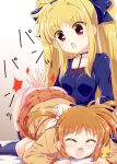 2girls ass blonde_hair blush breasts brown_hair closed_eyes collarbone eyebrows_visible_through_hair fate_testarossa hair_ornament hair_ribbon highres long_hair looking_at_another lyrical_nanoha mahou_shoujo_lyrical_nanoha mahou_shoujo_lyrical_nanoha_a's multiple_girls open_mouth panties pink_panties red_eyes ribbon shiny shiny_hair short_hair small_breasts spanking takamachi_nanoha twintails underwear yakisoba_(kaz2113) yuri
