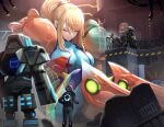 1girl armor bangs blonde_hair blue_bodysuit bodysuit breasts closed_eyes closed_mouth electricity factory giant giantess gonzarez hair_tie highres indoors large_breasts long_hair metroid mole mole_under_mouth people ponytail railing robot samus_aran shoulder_armor sidelocks sitting swept_bangs wire