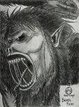 angry artist_logo beast_titan drawing face hairy hand-y-mage highres monochrome pointy_ears roaring saliva shading sharp_teeth shingeki_no_kyojin sketch teeth throwing_rock zeke_yeager