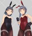 2girls alternate_costume animal_ears arare_(kancolle) bangs bare_shoulders black_gloves black_legwear blunt_bangs blush bow bowtie breasts brown_eyes closed_mouth commentary_request cowboy_shot detached_collar fake_animal_ears from_below gahaku garters gloves grey_background grey_hair highres kantai_collection kasumi_(kancolle) leg_garter leotard long_hair looking_at_viewer multiple_girls pantyhose playboy_bunny rabbit_ears red_leotard short_hair small_breasts standing strapless strapless_leotard wrist_cuffs