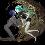 2others absurdres androgynous aqua_eyes aqua_hair bangs black_background blue_eyes blue_hair blunt_bangs clipboard colored_eyelashes commentary_request cracked_skin crying crying_with_eyes_open crystal_hair dual_persona frilled_sleeves frills gem_uniform_(houseki_no_kuni) gold golden_arms green_nails highres holding holding_clipboard houseki_no_kuni huge_filesize molten_metal multiple_others necktie open_mouth phosphophyllite phosphophyllite_(ll) short_hair short_sleeves sparkle tears torino_kawazu