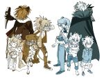 1boy 1girl absurdres age_progression animal_ear_fluff animal_ears arknights bangs book cape crown crying dirty dirty_clothes fur-trimmed_cape fur_trim hat highres jacket leopard_boy leopard_ears leopard_tail lion_ears siege_(arknights) silverash_(arknights) stuffed_animal stuffed_toy tail teenage tenzin_(arknights) war_hammer weapon younger yuyanshu13