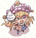 1girl american_flag_dress american_flag_legwear arm_up artist_name bangs blue_dress blue_pants blush chibi clownpiece dress eyebrows_visible_through_hair food hair_between_eyes hand_on_own_face hands_up hat ice_cream jester_cap looking_at_viewer looking_up multicolored multicolored_clothes multicolored_dress multicolored_pants no_shoes one_eye_closed open_mouth pants polka_dot purple_headwear red_dress red_pants rokugou_daisuke shadow short_sleeves smile solo standing star_(symbol) star_print striped striped_dress striped_pants touhou white_dress white_pants