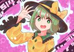 1girl arm_up bangs black_headwear blouse bow breasts brown_background collar collared_blouse crystal eyebrows_visible_through_hair eyes_visible_through_hair frills green_eyes green_hair hair_between_eyes hand_up hat hat_bow highres jewelry koishi_day komeiji_koishi long_sleeves looking_at_viewer medium_breasts number open_mouth pink_background short_hair smile solo touhou upper_body wide_sleeves yellow_blouse yellow_bow zanasta0810