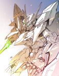 absurdres arm_blade clenched_hand eclipse_gundam energy_blade green_eyes gundam gundam_seed gundam_seed_eclipse highres matutoya mecha mobile_suit no_humans open_hand science_fiction solo v-fin weapon