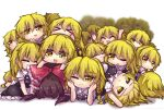 >_< 6+girls :< :3 apron arm_up arms_up bangs black_skirt black_vest blonde_hair blush bow braid brown_hair buttons chibi clone closed_eyes closed_mouth commentary_request dogpile elbow_rest eyebrows_visible_through_hair eyes_visible_through_hair hair_between_eyes hair_bow hair_ornament hair_tubes hakurei_reimu hand_up hands_up kirisame_marisa long_hair looking_at_another looking_at_viewer looking_to_the_side lying multiple_girls no_hat no_headwear one_eye_closed open_mouth puffy_short_sleeves puffy_sleeves purple_bow red_bow seiza shadow shirt short_hair short_sleeves single_braid sitting skirt smile teeth too_many touhou unime_seaflower vest white_apron white_background white_bow white_shirt yellow_eyes