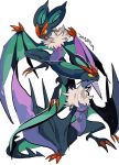 black_eyes bright_pupils closed_mouth colored_sclera fangs gen_6_pokemon grey_background highres mochako_(motyako_1005) no_humans noivern number open_mouth pokemon pokemon_(creature) simple_background tongue white_pupils yellow_sclera