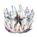 1boy ahoge arm_up armor belt black_pants blonde_hair blue_eyes breastplate cape full_body granblue_fantasy greaves looking_at_viewer male_focus minaba_hideo official_art open_mouth pants planted planted_sword puddle sheath siete smirk smug solo space sparkle standing star_(sky) sword teeth transparent_background unsheathed water weapon